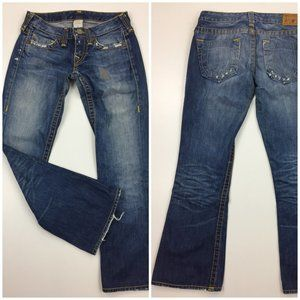 TRUE RELIGION Distressed Flare Leg Med Wash Jeans